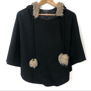 Self Esteem Black Brown Fur Hooded Poncho Pullover